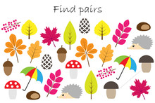 Find Pairs Of Identical Pictures, Fun Education Game With Autumn Theme For Children, Preschool Worksheet Activity For Kids, Task For The Development Of Logical Thinking, Vector Illustration