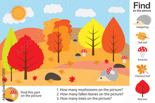 Fotografia  Activity page, autumn forest in cartoon style, find images, answer the questions