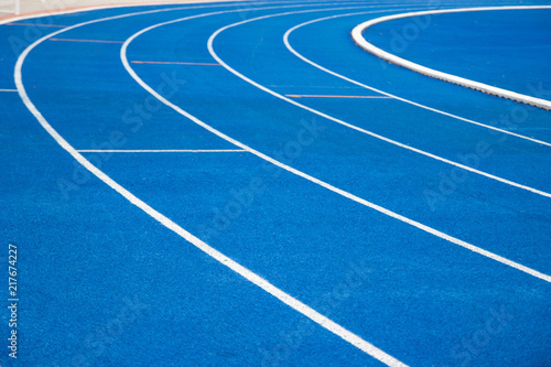 Obraz na płótnie running track blue color - For fitness or competition Bangkok of Thailand