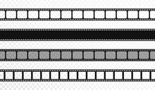 Seamless Film Strips On Transparent Background. Vintage Cinema And Photo Tape. Retro Film Strips