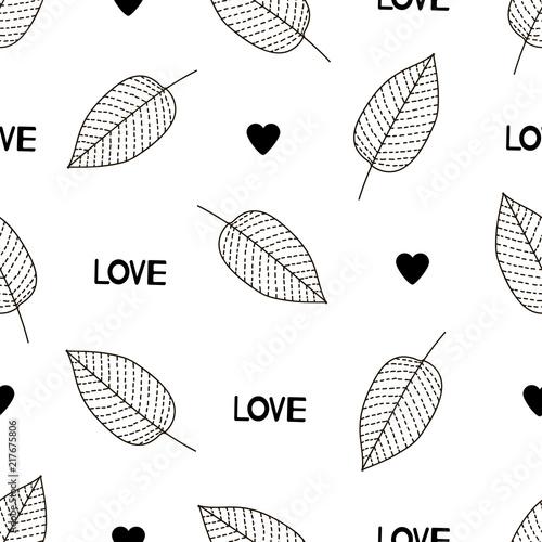 love-serduszka-i-liscie-czarno-biala-nowoczesna