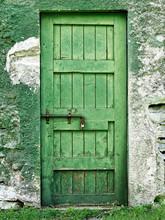 Old Closed Green Door