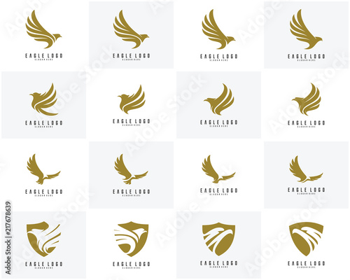 Valokuvatapetti Set of Eagle logo vector