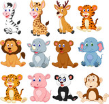 Fototapeta Fototapety na ścianę do pokoju dziecięcego - Wild animals cartoon collection set