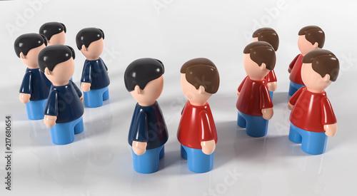 Photo 3D Figur zwei Gruppen Gegner