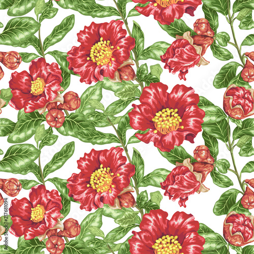 Seamless pattern vector illustration with pomegranate blooming branches