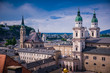 View on Historic city of Salzburg with famous Salzburg Cathedral