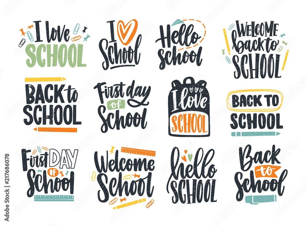 Fototapety, obrazy: Bundle of Back to School inscriptions handwritten with cursive font and decorated with stationary or writing tools. Set of written phrases isolated on white background. Colorful vector illustration.