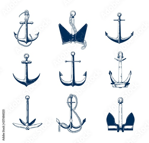 Collection of nautical anchors of various types hand drawn with navy contour lines on white background Fotobehang