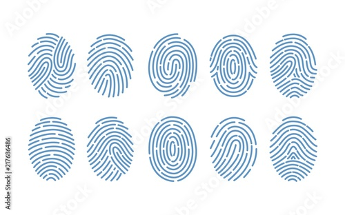 Fotografie, Tablou  Set of fingerprints of various types isolated on white background