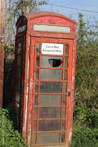 Fotografie, Tablou  Old Broken British Telephone Box