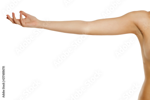 Foto whole female arm on white background