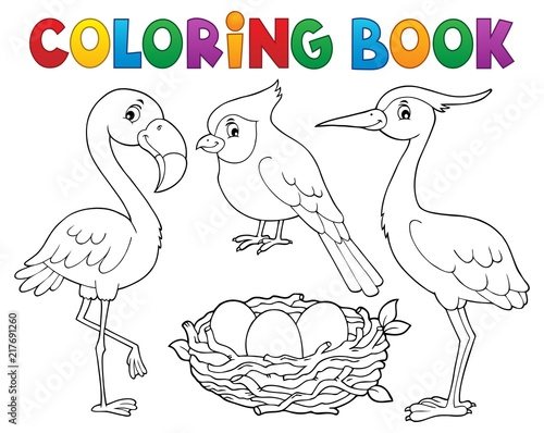 Poster de jardin Enfants Coloring book bird topic 1