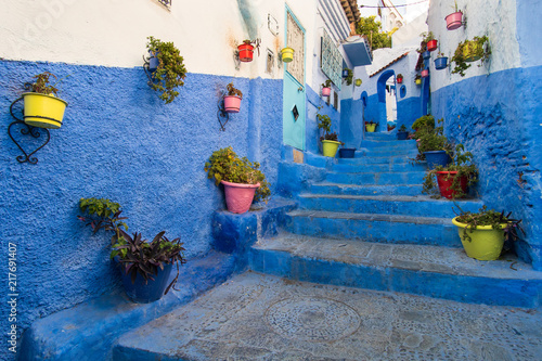 Deurstickers Stairway in Chefchaouen, the Blue city, in Morocco