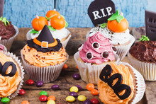 Halloween Cupcakes With Colored Decorations, Soft Focus Background