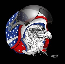 Image Portrait Eagle In American Motorcycle Helmet. Vector Illustration.