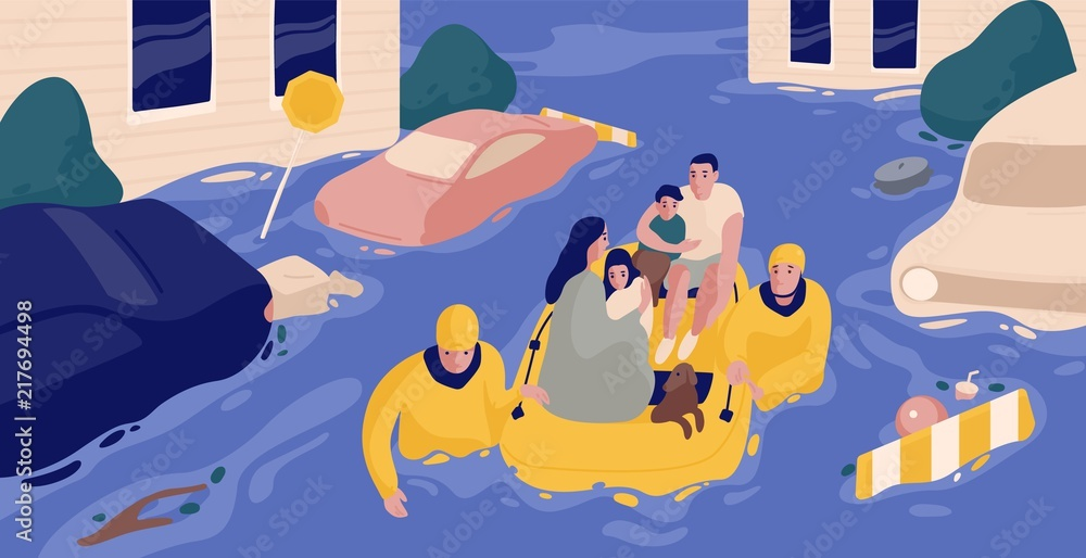Fototapeta Flood survivors sitting in inflatable boat rescued by pair of rescuers. Family saved from flooded area or town. People and natural disaster. Colorful vector illustration in flat cartoon style.