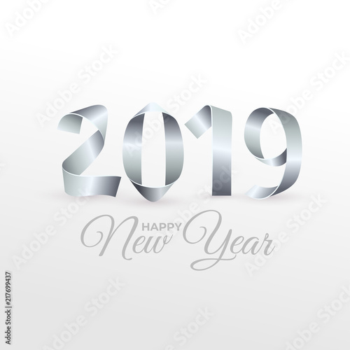 New Year 2019 Greeting Card For Your Design Handmade Silver Painted