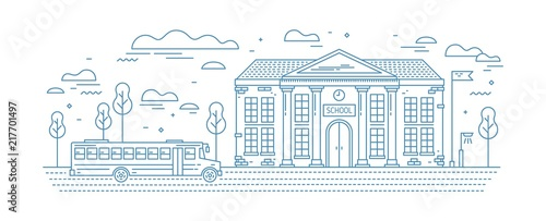 Poster Blanc Classical school building with columns and bus for kids or pupil driving on road drawn with contour lines on white background. Educational institution. Monochrome vector illustration in linear style.