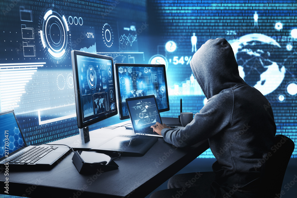 Fototapeta Hacking and malware concept
