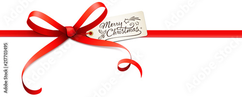 Red Bow with Label and Kalligraphy - Merry Christmas Wallpaper Mural