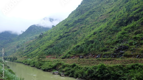 Mountainous landscape with cloud in Ha Giang, Vietnam