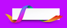 Purple And White Banner With Colorful Abstract Brush Stroke.