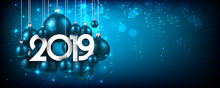 Blue Festive 2019 New Year Banner With Christmas Balls.