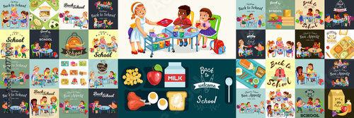 Fotografía  School dinner colorful set, Composition of posters with pupils lunch canteen int