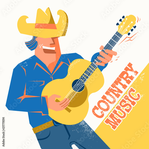 11a04880f4298 Country music concert poster with singer man in cowboy hat palying the  guitar