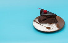 Single Portion Of Gourmet Iced Chocolate Cake