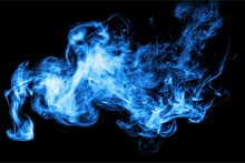Blue Smoke Over Black Background