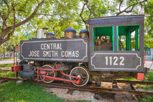 "Old Steam Train Locomotive, Used On Cuba's Sugar Plantations At The Parque De Los Agrimensores Next To The Train Station ""Estacion Central De Ferrocarriles"" In Havana, Cuba."