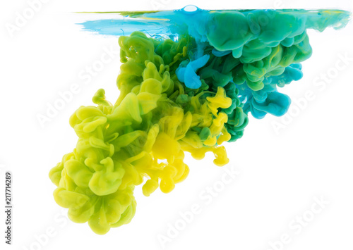 Abstract acrylic paint color swirls in water, texture background.