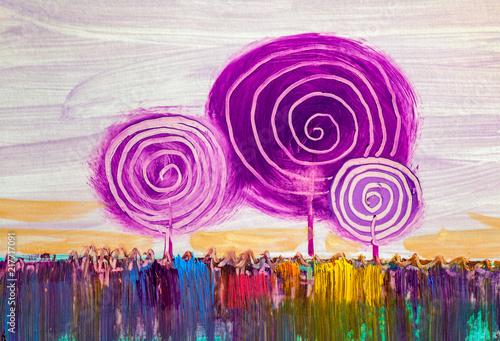 Obraz Abstrakcyjne drzewa, artystyczny obraz olejny - fototapety do salonu