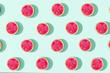 Leinwandbild Motiv Flat lay watermelon sliced pattern with sun light on pastel blue  background. minimal summer concept