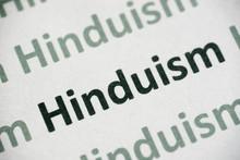 Word Hinduism Printed On Paper Macro