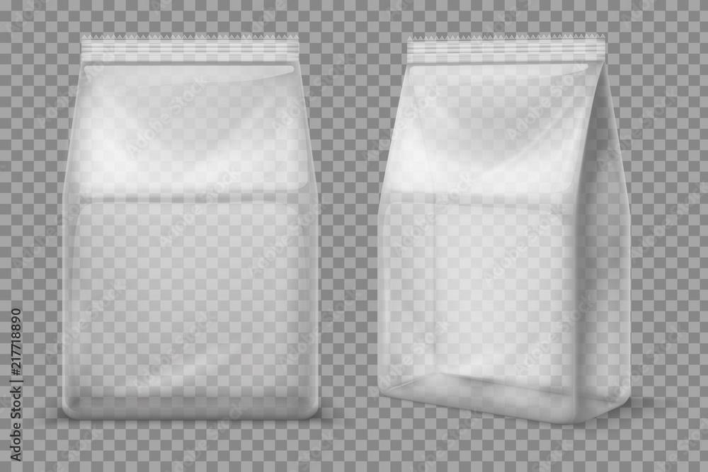 Fototapeta Plastic snack bag. Transparent food blank sachet. 3d vector package isolated mockup