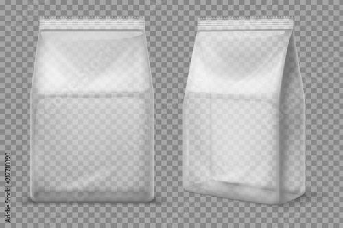 Obraz Plastic snack bag. Transparent food blank sachet. 3d vector package isolated mockup - fototapety do salonu