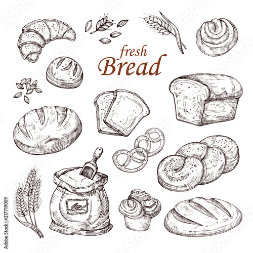 Canvastavla Sketch bread, hand drawn bakery products vector set isolated on white background