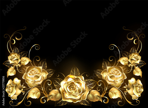 Valokuva  Black background with gold roses