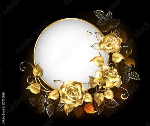 Round banner with gold roses Fototapeta