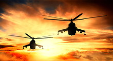 Military Helicopters At Sunset