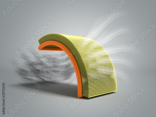 Fotografía  car air filter 3d render on grey background