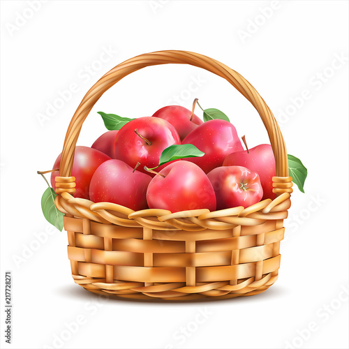 Fotografija  Basket with red apples isolated on white. Vector illustration.