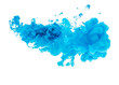 Acrylic blue color in water. Abstract background.