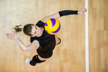 Upper View Of Female Volleybal...