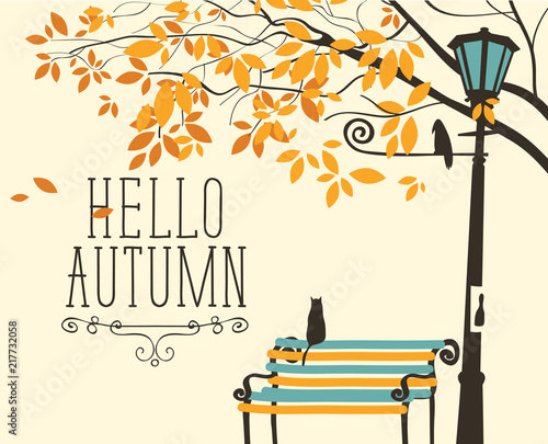 Foto op Canvas Drawn Street cafe Vector banner in retro style on the fall theme with the inscription Hello autumn. Autumn landscape with tree branches, a lonely cat on the bench and crow on the lamp post