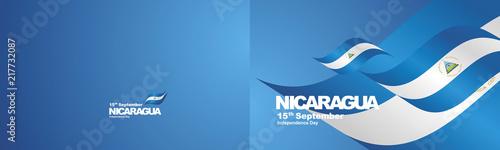 Fotografía Independence Day Nicaragua flag ribbon two fold landscape background