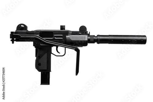Photo  submachine gun with silencer isolated on white
